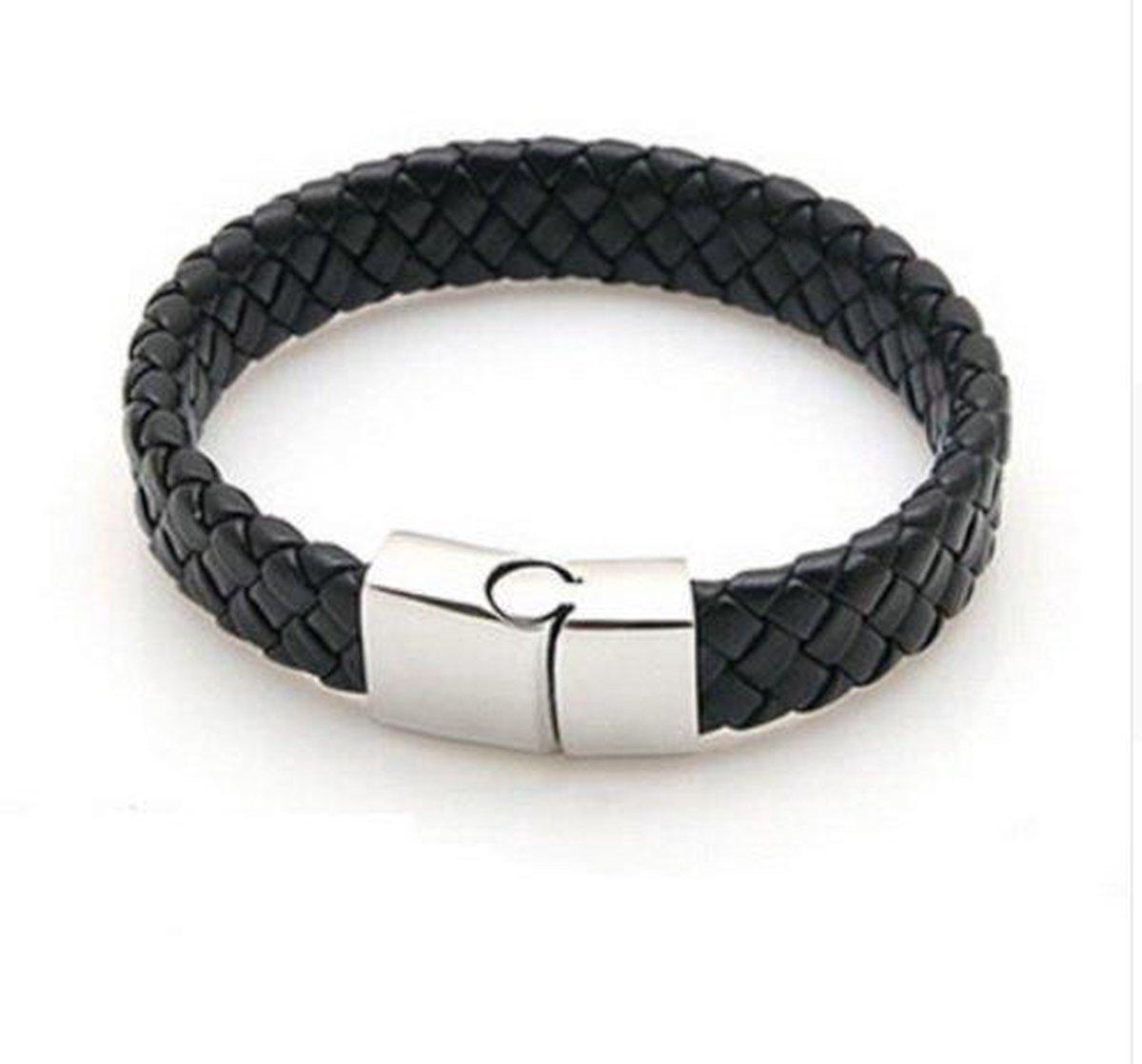 Lovelymusthaves Stoere platte brede mannen / heren Armband gevlochten zwart met handige sluiting - Merkloos