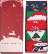 JAP Kerstmis sokken - Giftbox 5 paar - Dames en heren - Kerst versiering - Maat 37 - 44 - Set I