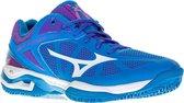 Mizuno Wave Exceed Tour CC Tennisschoenen - Maat 40 - Vrouwen - blauw/wit/roze
