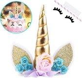 Unicorn Cake Topper - Goud - Eenhoorn Versiering - Taart Versiering - Taarttopper Verjaardag