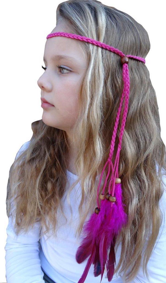 Ibiza Style Haarband Hoofdband Haar Veer Diadeem Fushia - Jessidress