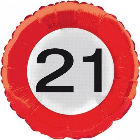 Folie ballon verkeersbord 21 jaar