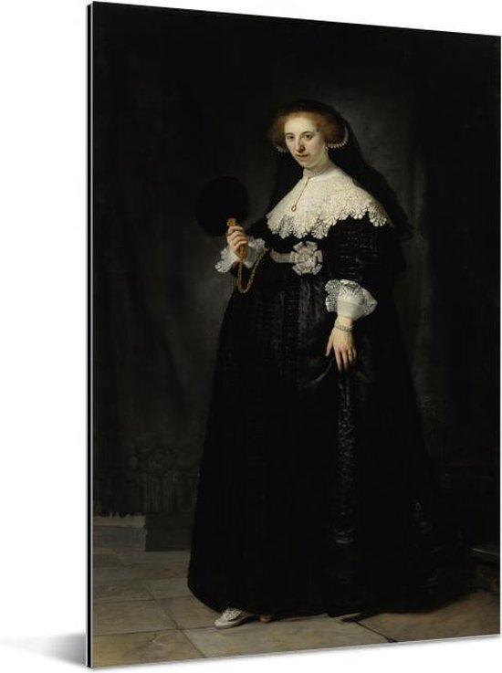 Huwelijksportret van Oopjen Coppit - Schilderij van Rembrandt van Rijn Aluminium 80x120 cm - Foto print op Aluminium (metaal wanddecoratie)