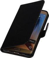 Zwart Smartphone TPU Booktype Samsung Galaxy S6 Edge Plus Wallet Cover Hoesje