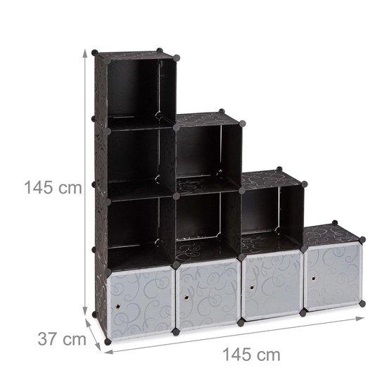 relaxdays vakkenkast - open kast - roomdivider kunststof - zelf bouwen - steekverbinding 10 - Relaxdays
