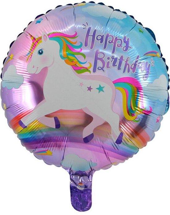 Folieballon Happy birthday eenhoorn rond 45x45cm
