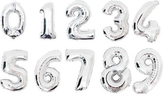 XL Folie Ballon (3) - Helium Ballonnen – Folie ballonen - Verjaardag - Speciale Gelegenheid  -  Feestje – Leeftijd Balonnen – Babyshower – Kinderfeestje - Cijfers - Zilver