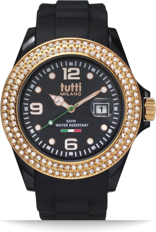 Tutti Milano TM003NO-RO-Z- Horloge -  42.5 mm - Zwart - Collectie Cristallo