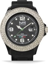 Tutti Milano TM004NO-ST-Z- Horloge -  48 mm - Zwart - Collectie Cristallo