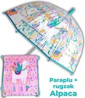 Paraplu Alpaca + rugzak meisjes | doorzichtige koepelparaplu Ø70cm kind | Lama gymtas US03