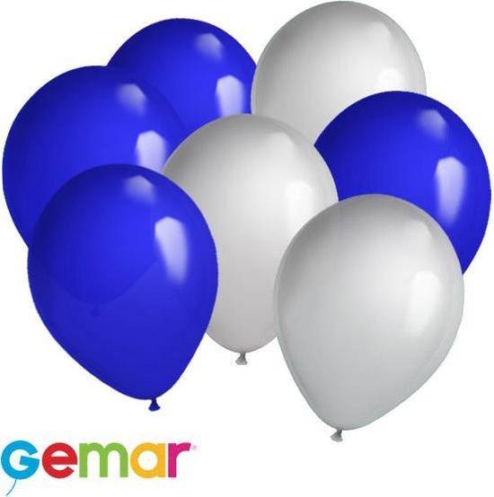30x Ballonnen Zilver en Blauw (Ook geschikt voor Helium)