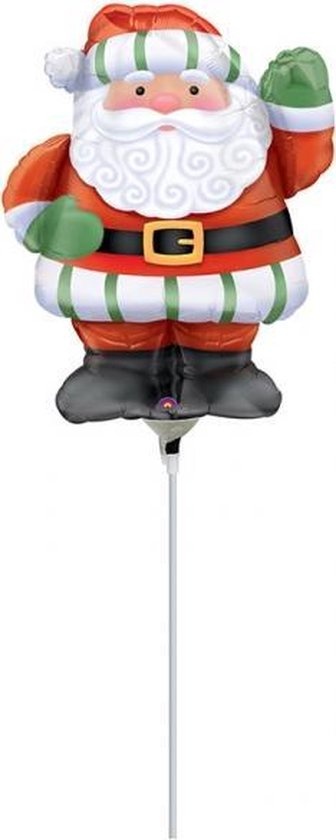 Mini Folieballon Kerstman in schoorsteen