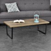 en.casa® Bradford Moderne Salontafel - Houtlook - Metalen frame