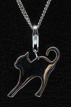 Zilveren Kat abstract hanger én bedel