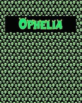 120 Page Handwriting Practice Book with Green Alien Cover Ophelia