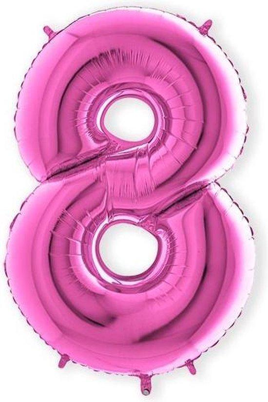 Folieballon cijfer 8 fuchsia (100cm)