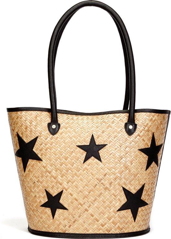 49 x 32 cm Ibiza Beach Bag Fabienne Straw PDM Black Fab.