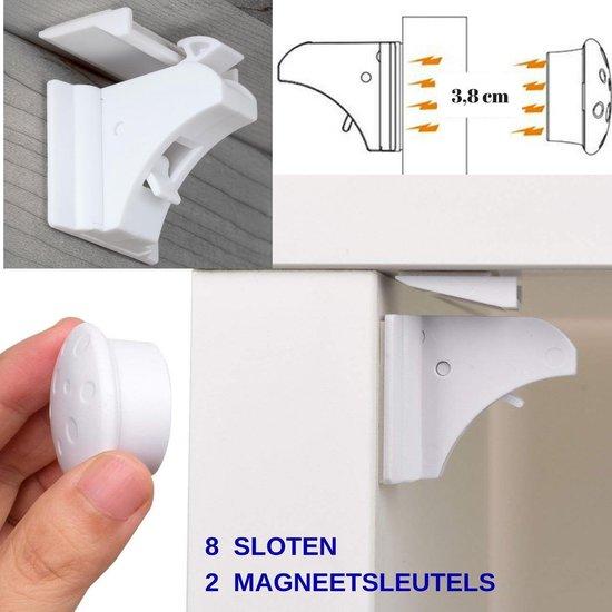 Gohh® 8 Magneetsloten (met 3M tape) en 2 Sterke Magneetsleutels - Geen schroeven nodig