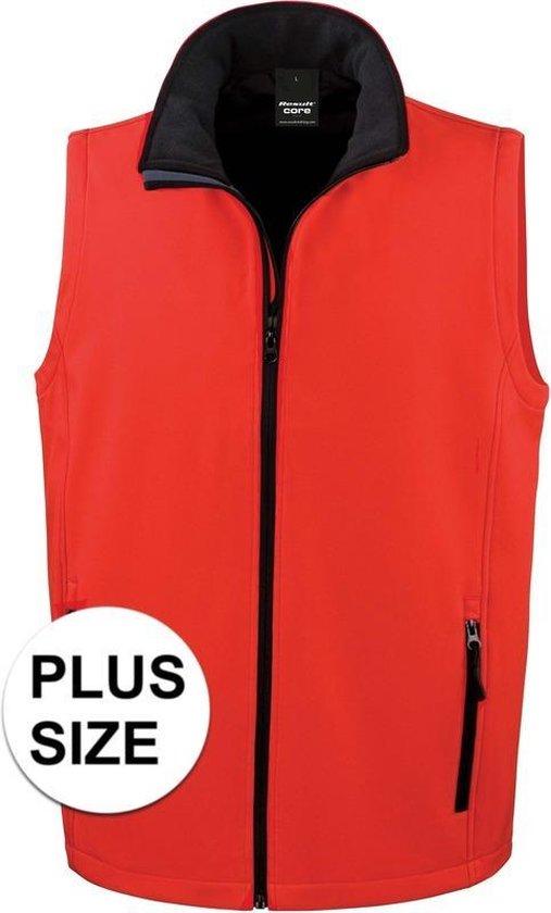 Grote maten softshell casual bodywarmer rood voor heren - Outdoorkleding wandelen/zeilen - Mouwloze vesten plus size 4XL (48/60)