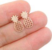 24/7 Jewelry Collection Ananas Oorbellen - Oorknoppen - Geborsteld - Rosé Goudkleurig