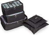TravelSky Packing Cubes - Koffer Organizer - Inpak Kubussen – 6 stuks - Zwart