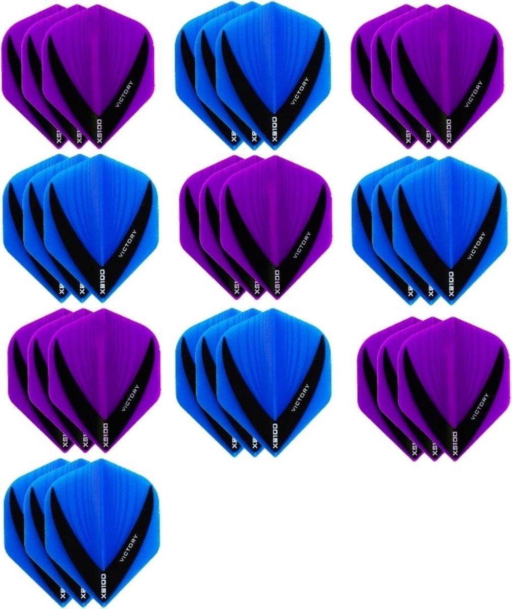 10 sets (30 stuks) - XS100 Vista flights - duo kleur pakket - Paars en Aqua/Blauw - flights - dartflights