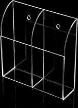 Coretek Houder voor afstandsbedieningen met 2 vakken / transparant