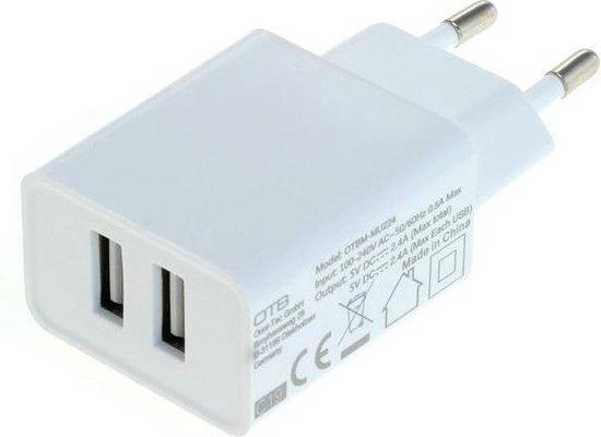 USB thuislader met 2 poorten - 2,4A / wit