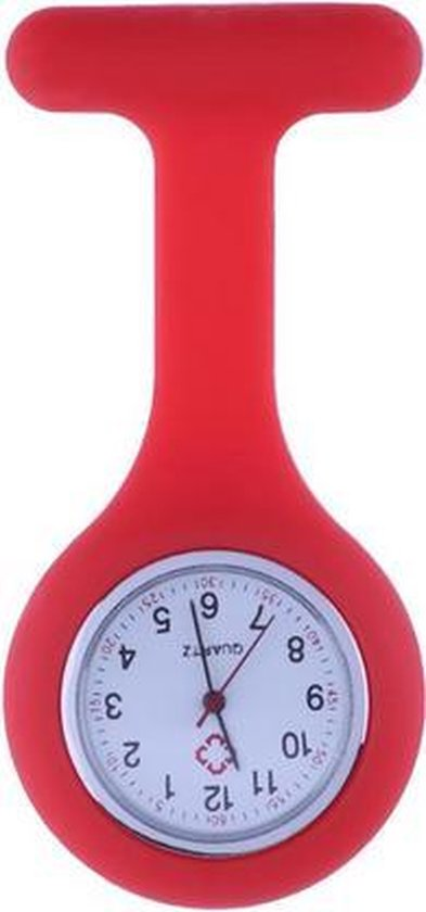 Treasure Trove® Siliconen Verpleegstershorloge Rood – Zusterhorloge – Horloge Verpleegster Dames – Speld – 30 mm