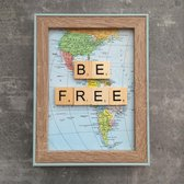 Schilderijtje 3D. Travel. Be Free. 16 x 21 cm.