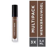 L'Oréal Paris Unbelieva Brow Wenkbrauwgel  - 108 Dark Brunette - Waterproof - 3 Stuks - Voordeelverpakking