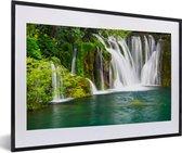 Foto in lijst - Verschillende watervallen bij het Nationaal park Erawan in Thailand fotolijst zwart met witte passe-partout 60x40 cm - Poster in lijst (Wanddecoratie woonkamer / slaapkamer)