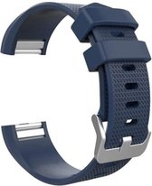 Merkloos Siliconen bandje - Fitbit Charge 2 - Donkerblauw Navy - Small