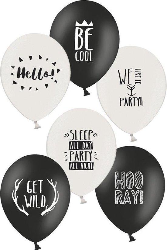 Ballonnen party zwart/wit 30cm per 6 stuks