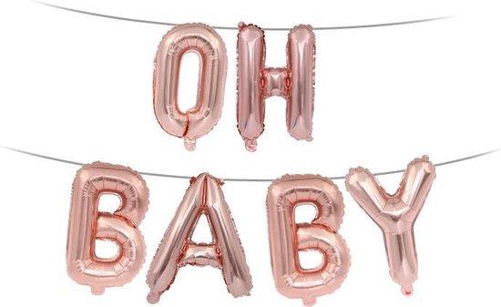 Folie Ballon met Tekst OH BABY | Roségoud | Bruiloft Accessoires