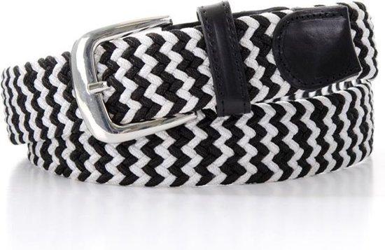 Elastische Riem met patroon – Gevlochten riem – Zwart witte riem – 90 cm