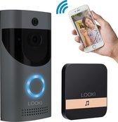 Looki® X6 draadloze video deurbel inclusief ontvanger en batterijen – Gratis Cloud service – Full HD -  Bewegingsdetectie en Two-way Audio - HD WiFi beveiligingscamera met app – Werkt op batterij en/of netstroom - Offline ring functie - Zwart