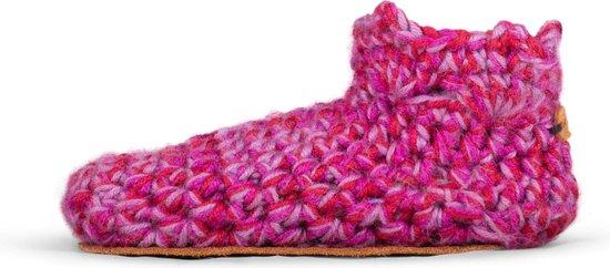 Kingdom of Wow - Sloffen Pantoffels Meisje Wol Yasmin Roze Maat 22/23 - Handgemaakt