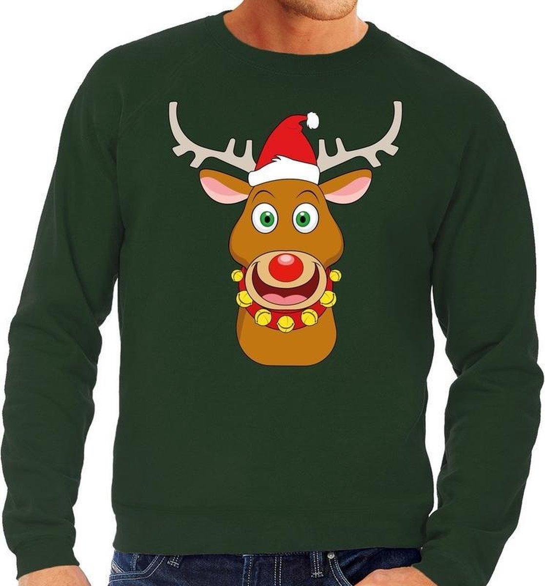 Foute kersttrui / sweater met Rudolf het rendier met rode kerstmuts groen voor heren - Kersttruien L (52) - Bellatio Decorations