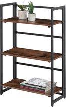 Open Kast met 3 Legplanken voor Boeken en Decoratie - Inklapbaar / opvouwbare boekenkast - 60x30x93cm - Zwart en Vintage Bruin