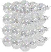 36x Transparante parelmoer glazen kerstballen 4 cm - mat/glans - Kerstboomversiering helder/transparant