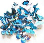 3D Vlinders Muur Sticker / Muurdecoratie - Kinderkamer & Babykamer - Blauw