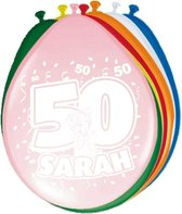 8x stuks Ballonnen versiering 50 jaar Sarah