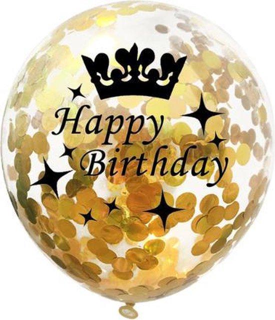 Happy Birthday -  Ballonnen Set - Confetti - 5 stuks - Verjaardag Feest - Versiering - Goud - 30cm