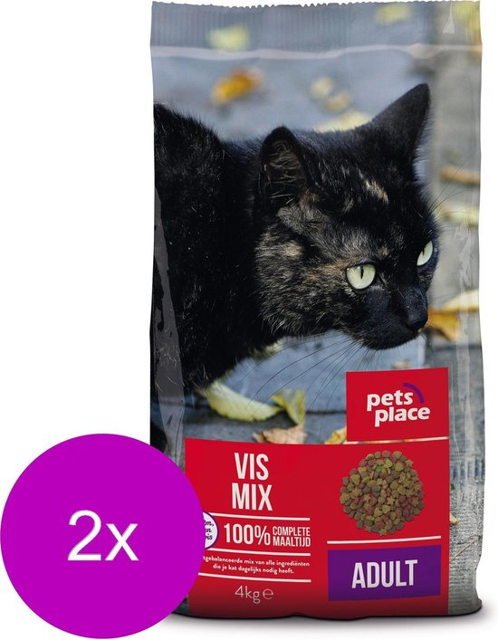 Pets Place Kat Adult Vismix - Kattenvoer - 2 x 4 kg