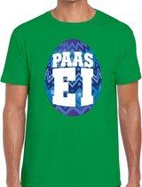 Groen Paas t-shirt met blauw paasei - Pasen shirt voor heren - Pasen kleding 2XL
