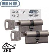 Nemef Cilinderslot 142/9 30/30 per 6 gelijksluitend inclusief 18 sleutels