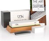 Luxe Dubbelzijdige Wetsteen Slijpsteen set 1000 4000 van Edelkorund (18x6x3 CM) met E-book voor slijpen van messen e.d. van VDN