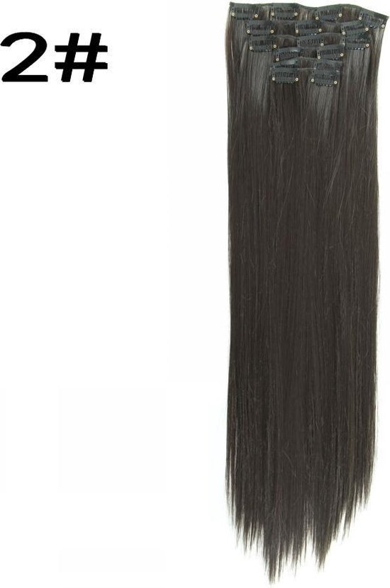 Synthetic Clip In HairExtensions  sets kleur 2 donkerbruin 55cm 100 gram