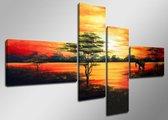 Canvas Schilderijen (Wanddecoratie woonkamer / slaapkamer) - Schilderij Afrika - 160 x 70 cm 4-Luik